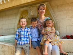Janelle A. Weber with her three children.